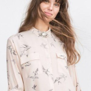Zara Basic Pink Bird Print Blouse